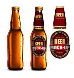 Beer-mock-up-set golden bottle without a label vector