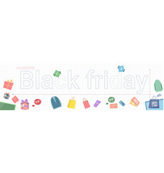 black friday sale horizontal banner with gift vector image vector image