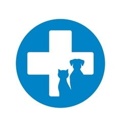 Blue veterinary icon with pets vector