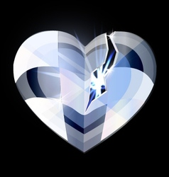 broken ice heart-crystal vector image