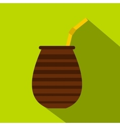 Chimarrao for mate or terere icon flat style vector image vector image