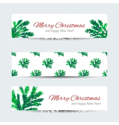 Christmas banners with cristmas tree branches vector