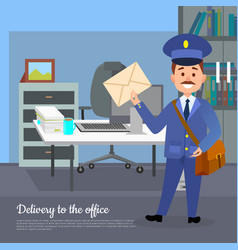 Delivery to the office web banner world transfer vector