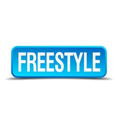 Freestyle blue 3d realistic square isolated button vector