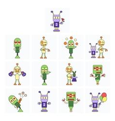 Funny robots set vector