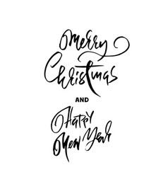 handdrawn merry christmas card happy new year vector image