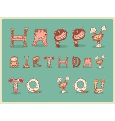 Happy birthday card postcard freaky funny cute vector