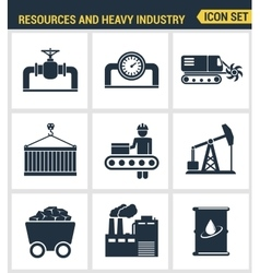 Icons set premium quality of heavy industry power vector