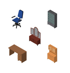 Isometric furniture set of drawer table vector