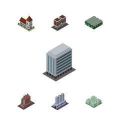 Isometric urban set of warehouse clinic office vector