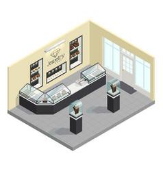 jewelry shop isometric interior vector image vector image