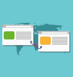 Link building blogging connected link vector