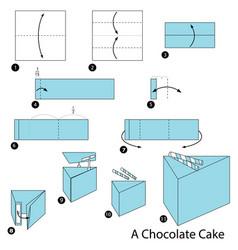Make origami a chocolate cake vector