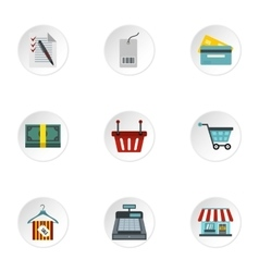 Online purchase icons set flat style vector