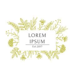Organic white beige tea shop label template vector