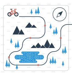 Outdoor cycling activities bike race itinerary vector image