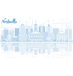 Outline nashville skyline with blue buildings and vector