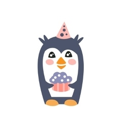 Penguin With Party Attributes Girly Stylized Funky vector image vector image