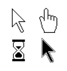 Pixel cursor icons vector image vector image