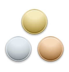 Round empty polished gold silver bronze medals vector