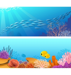 Sea life banners vector