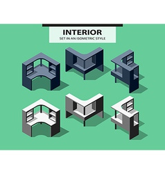 Set of computer tables in isometric style vector image vector image