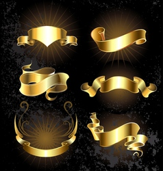 Set of gold ribbons vector