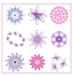 Set of multi colored ornaments circle oval vector image vector image