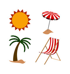 set of summer objects vector image