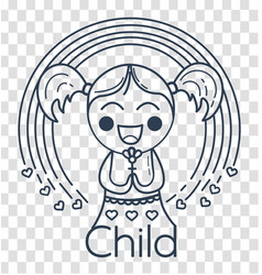 silhouette of childrens creativity girl vector image