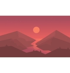 Silhouette of mountain and river vector image