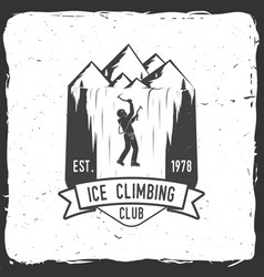 vintage typography design with climber on the vector image