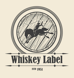 Whiskey label with barrel and rodeo rider vector