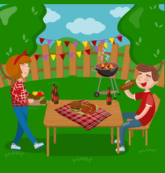 Young people cooking and eating bbq while sitting vector