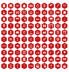 100 mirror icons hexagon red vector