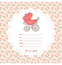 Baby shower card newborn girl with a stroller vector