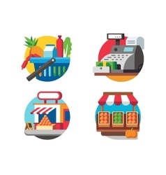 Buying food in supermarket vector image