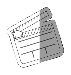 Monochrome contour sticker with clapperboard vector