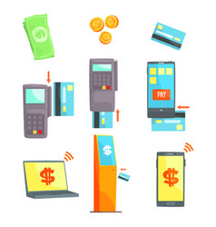 Payment methods set for label design payment vector