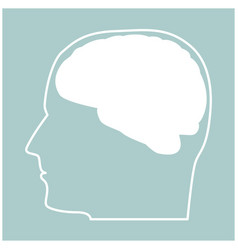 Head with brain the white color icon vector
