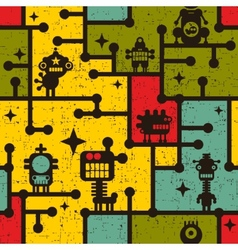 Robot and monsters colorful seamless pattern vector image