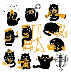 Group of black cats creative professions vector