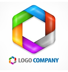 Color hexagon on white vector