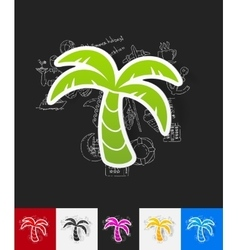 Palm paper sticker with hand drawn elements vector
