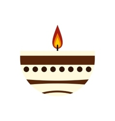 Burning candle in a clay candle holder icon vector image