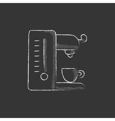 Coffee maker drawn in chalk icon vector