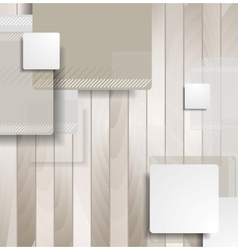 Abstract brown squares on wooden background vector