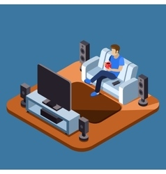 Man watching television on sofa flat vector