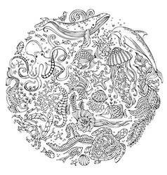 Circle set of doodles wild sealife vector