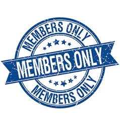 Members only grunge retro blue isolated ribbon vector